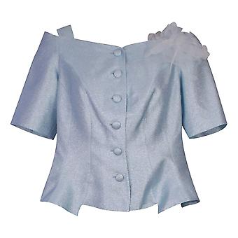 Paola Collection Shimmering Blue Cold Shoulder 3/4 Sleeve Button Front Top