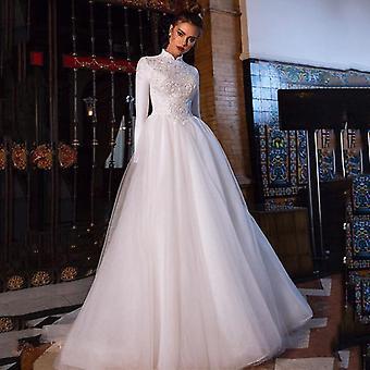 Muslimské arabské svatební šaty s vysokým výstřihem s dlouhým rukávem