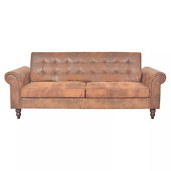 vidaXL sofá cama con reposabrazos imitación cuero marrón