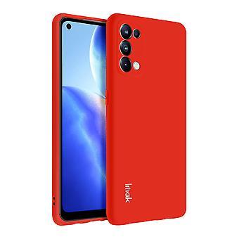 Omslag till Oppo Reno 5 5G/Find X3 Lite Silikon fodral Matt röd + Flexibel film