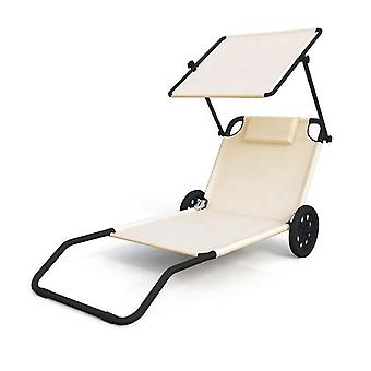 Beach lounger foldable beige - with wheels and sunroof