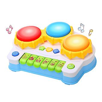 Musical Keyboard Piano Drum Set,baby Toy With Music And Lights-blue