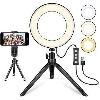 """Led Ring Light 6"""" Con soporte de trípode, mini luz de cámara led con soporte de teléfono celular lámpara led de escritorio"""