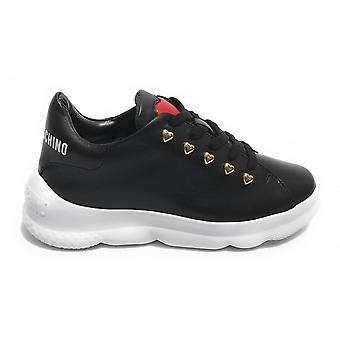 Damen Schuhe Love Moschino Sneaker Schwarz Leder Ds21mo18 Ja15374