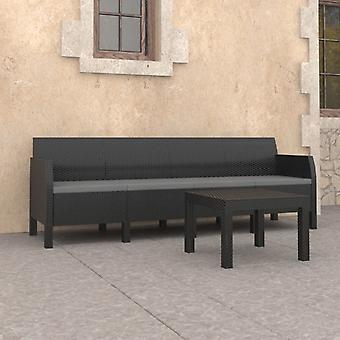 vidaXL 2-tlg. Garten-Lounge-Set mit Kissen PP Anthrazit