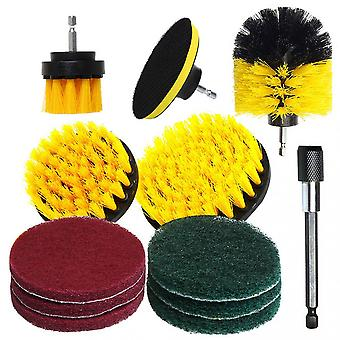 Electric Brush Head Set 12-piece Car Wheel Cleaning And Polishing Wall Multi-material Scouring Pad