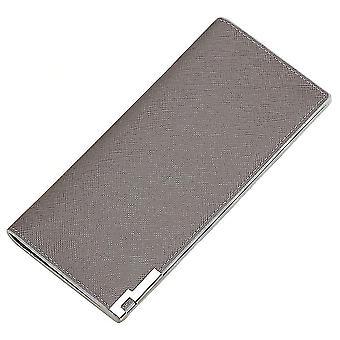 Men's long multi-card position cross grain metal wallet card case(Light Grey)