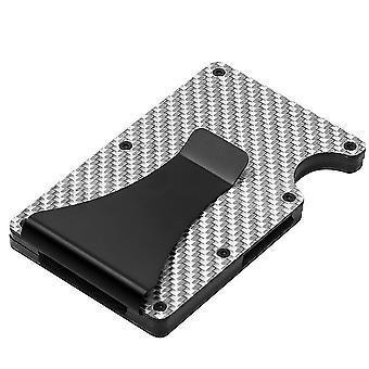 Držitel karty Peněženka Man, Slim Fashion RFID Carbon Fiber Wallet (Stříbrná)