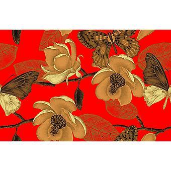 Tapetmaleri Vintage Design Magnolia Blomster og sommerfugler i viktoriansk stil