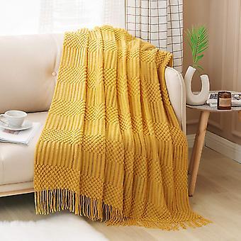 Couverture texturée solide et douce pour canapé canapé couverture tricotée décorative, jaune moutarde