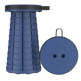 Outdoor folding telescopic stool, portable plastic stool for camping and fishing(Navy)