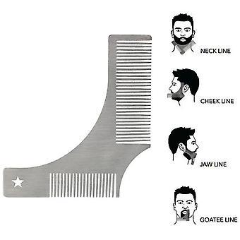 Bartformungsvorlage, Edelstahl-Styling-Vorlage Gesichtshaarpflege Trimmwerkzeug für perfekte Linien (silber)