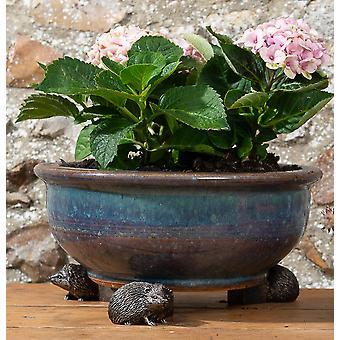 Potty Feet Decorative Hedgehog Themed Plant Pot Feet - Bronze Color Set of 3