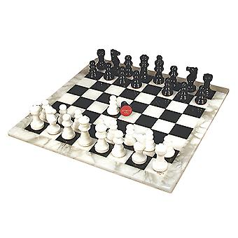 Sort & hvid Alabaster Chess Sæt