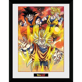 Imprimer de Dragon Ball Z 3 Gokus encadrée Collector