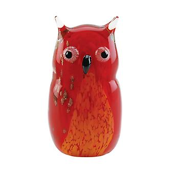 Accent Plus Art Glass Figurine - Red Owl, Pack of 1
