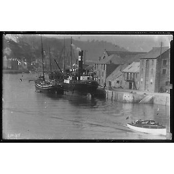 Steamboat moored at East looe Quay for cargo. Large Framed Photo. Cargo on quay.