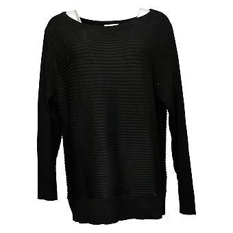 Skinnygirl Women's Sweater Casey Boatneck Rib Knit Black 716794
