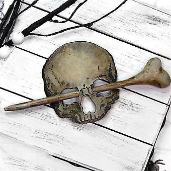 Halál koponya hajtű mesterséges csonttal, Halloween szerepjáték kellékek