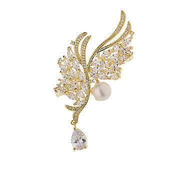 Angel's Wings Pearl Brooch Pin Miedziana mikroinkrustyjna broszka cyrkonowa
