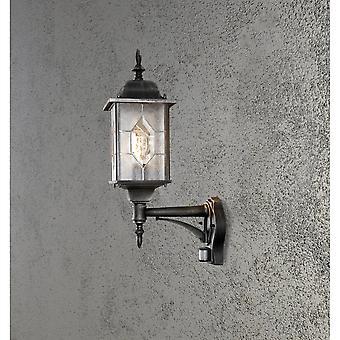 Konstsmide Milano Black Silver Wall Lamp With PIR