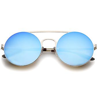 Moderne slanke brug van de neus van het dubbele platte gekleurde hoofdspiegel ronde zonnebril 53mm