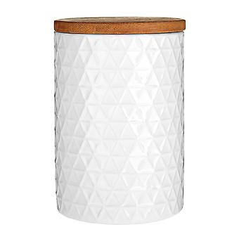 Premier Housewares Canister White Triangle with Bamboo Lid