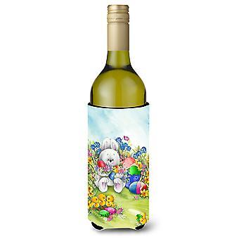 Easter Bunny and Eggs Wine Bottle Beverage Insulator Hugger