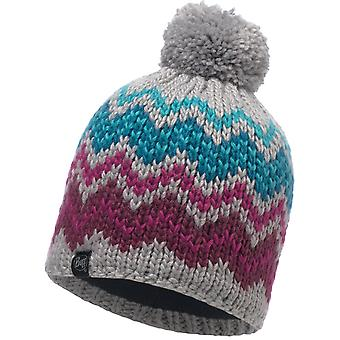 Buff Danke Knitted Bobble Hat in Light Grey