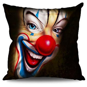 Clown Scary Creepy Linen Cushion 30cm x 30cm | Wellcoda