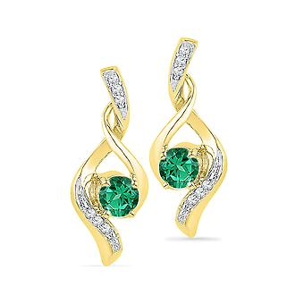 Lab Created Emerald 1/4 Carat (ctw) Infinity Earrings in 10K Yellow Gold