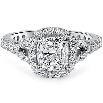 1 3 / 4ct almofada corte diamante Halo Split haste anel de noivado 14K ouro branco