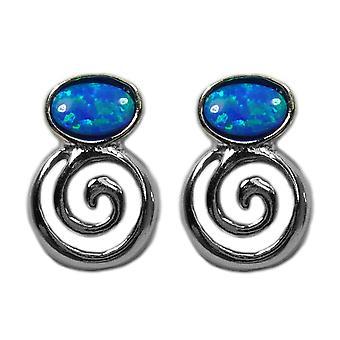 Sterling Silber griechischen Spirale Schlüssel mit synthetischen Opal Ohrringe, 10 x 14mm