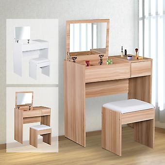 HOMCOM Chipboard Dressing Table Set Cushioned Stool Flip-up Mirror Drawer