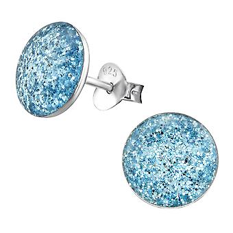 Round - 925 Sterling Silver Colourful Ear Studs - W22929x