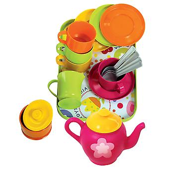 Gowi Toys Coffee Service Set (Pink/Green - 18 Pieces) Pretend Play Set Children