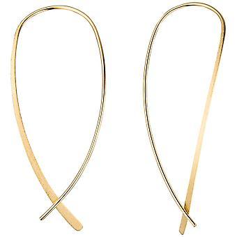 ثوب أصفر مع أقراط ذهبية فضية 925 مطلي أقراط لسحب عن طريق الحرير-إنهاء