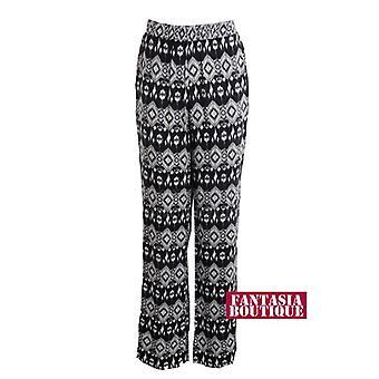 Nouveaux Mesdames taille élastique crème noir imprimé tribal des pantalons pour femmes Flare