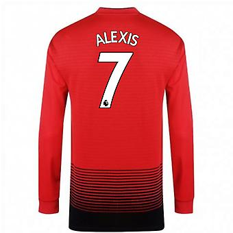 2018-2019 Man Utd Adidas Home Long Sleeve Shirt (Alexis 7) - Kids
