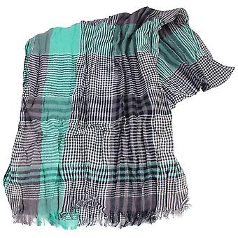 Knightsbridge Neckwear Gingham Cotton Scarf - Grey/Green