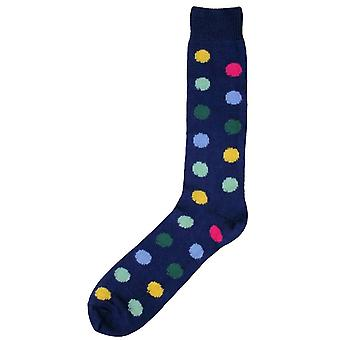 Bassin and Brown Spotted Midcalf Socks - Navy/Multi-colour
