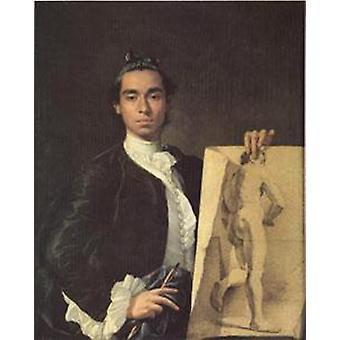 Portrait de l'artiste tenant une étude de vie, Melendez Luis Eugenio