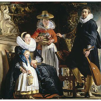The Artist and His Family in a Garden, Jacob Jordaens, 50x50cm