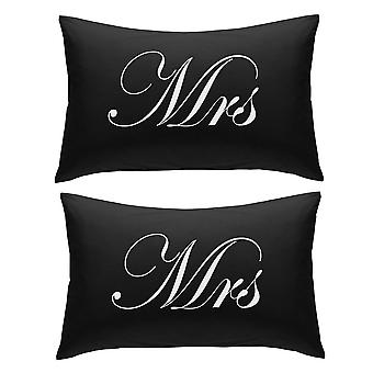Black with White Mrs and Mrs Pillowcases