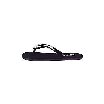 Lovemystyle schwarz Flip Flop Sandalen mit Silber Edelsteine