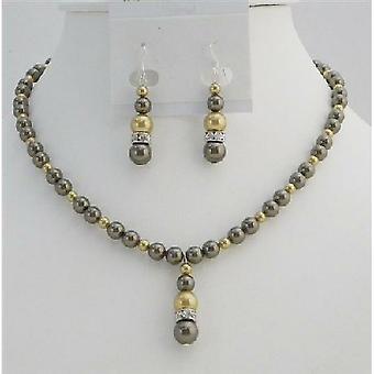 Gull perler smykker brun sjokolade Swarovski perler Håndlaget sett