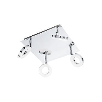 Eglo - Gonaro 4 hellen LED Badezimmer Decke vor Ort leichter Einbau In poliertem Chrom und weiß Acryl Oberfläche EG94763