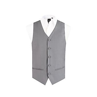 Dobell Mens Silver Easy Care Waistcoat Regular Fit 5 Button