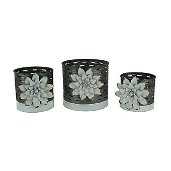 Rustic Galvanized Metal Olive Bucket Planters with Flower Magnets Set of 3