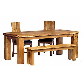 Stone Acacia 200cm Dining Table Set with 4 Chairs and Bench